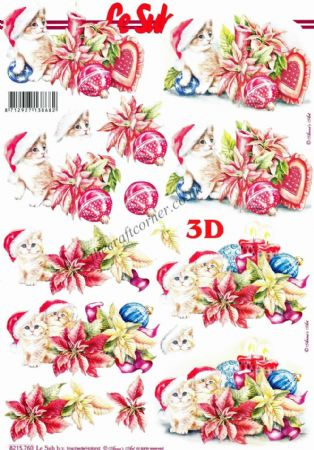 Christmas Kittens & Baubles 3D Decoupage Sheet From Le Suh